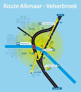 Velsertunnel omleiding Alkmaar Velserbroek