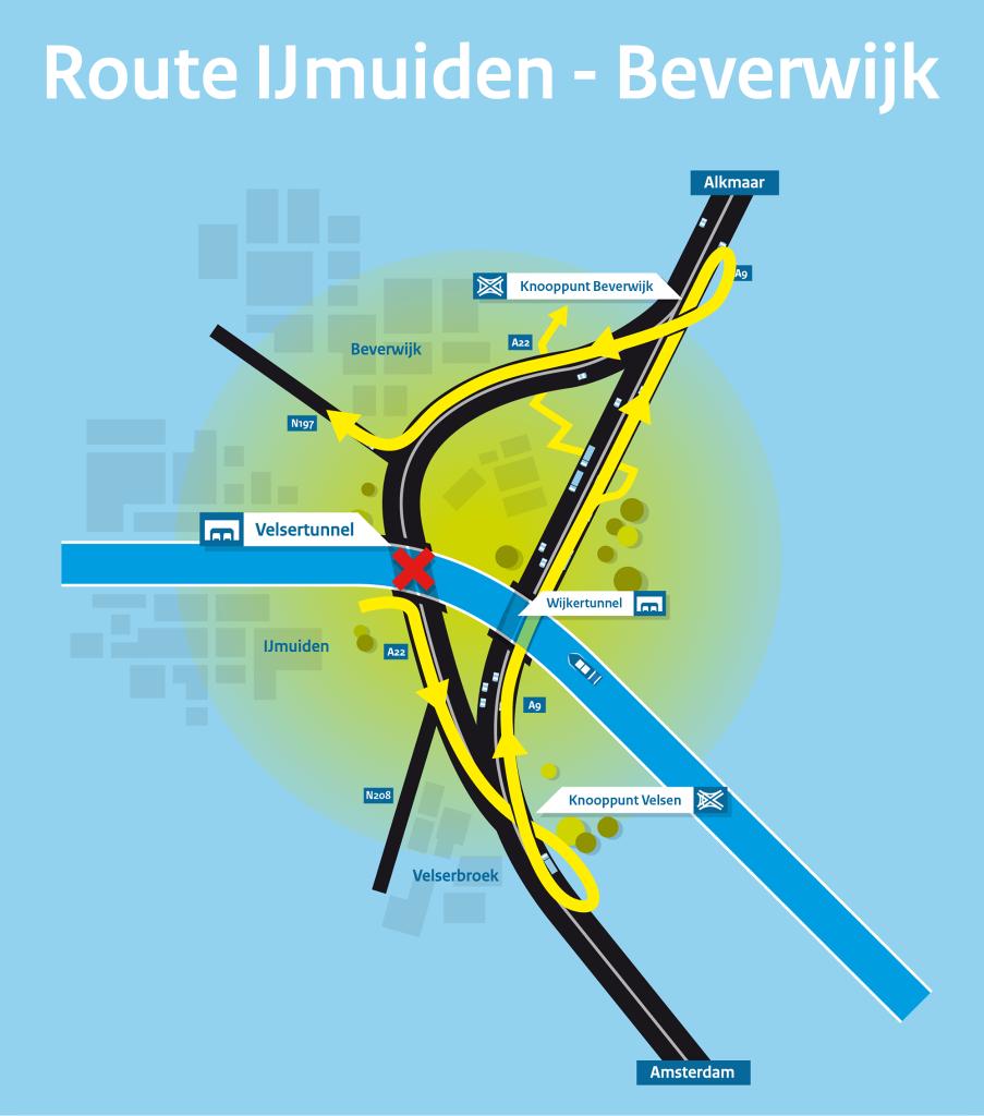Velsertunnel omleiding IJmuiden Beverwijk