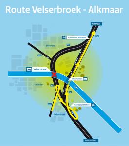 Velsertunnel omleiding Velserbroek Alkmaar