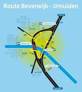 Velsertunnel omleiding Beverwijk - IJmuiden