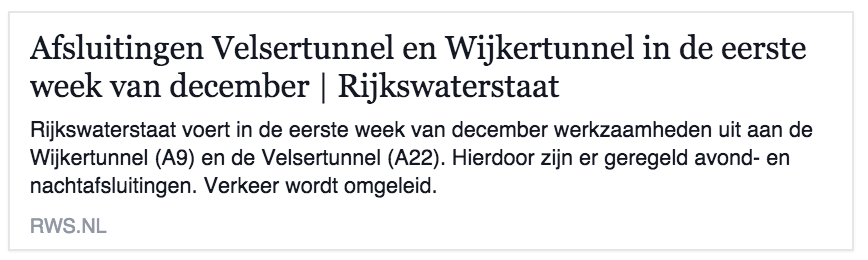 Velsertunnel dicht eerste week van December
